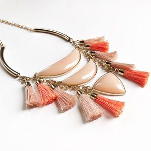 Peach & orange fashion jewelry statement necklace